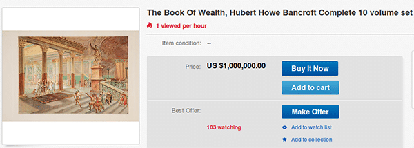 The Book of Wealth on eBay auction