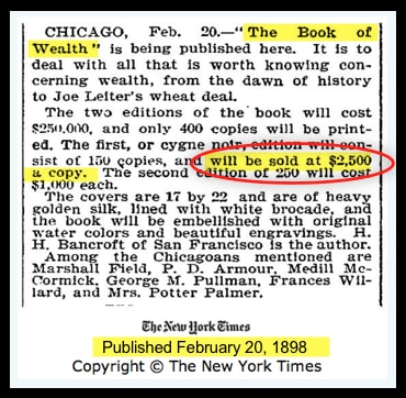 The Book of Wealth in New York Times Advertisement